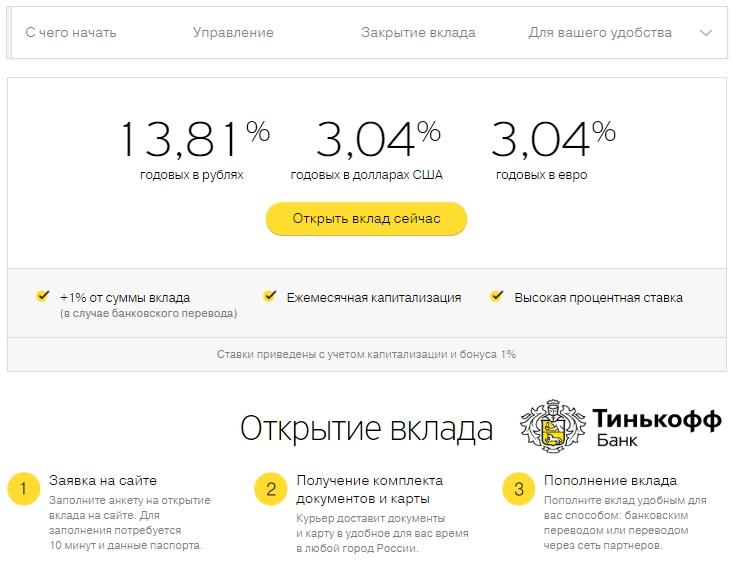 Процентная ставка по вкладам в Тинькофф