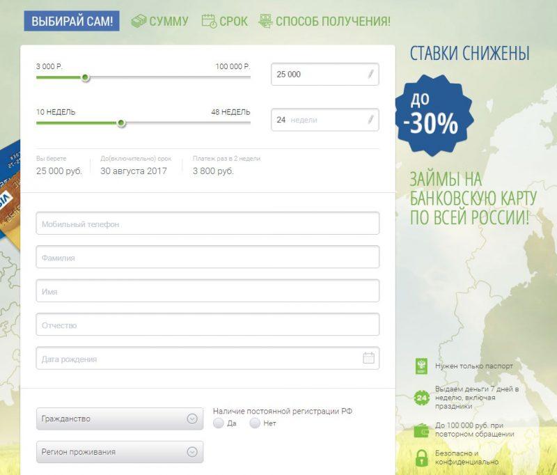 Анкета заемщика в МФО МигКредит