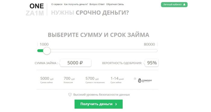 Сайт onezaim ru