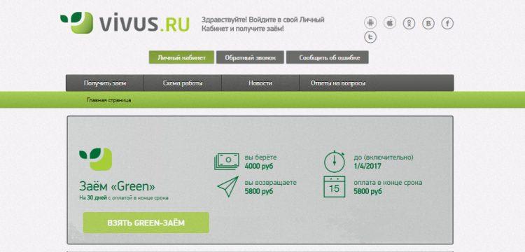 Сайт МФО Вивус